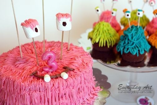 Everyday Art: Monster Birthday Cake and Cupcakes