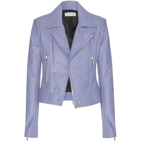 Balenciaga Leather Jacket (£1,670) ❤ liked on Polyvore featuring outerwear, jackets, coats, leather jacket, balenciaga, purple, genuine leather jacket, 100 leather jacket and purple jacket