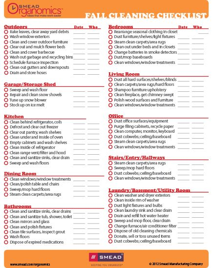 Checklist: Fall Cleaning - another list...because I clean and clean and clean as though Martha Stewart could show up in any second. ;)