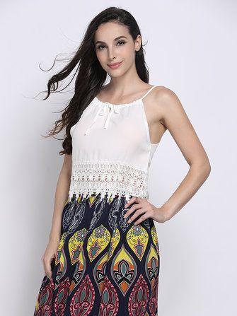 Sexy White Lace Crochet Patchwork Strap Women Tank Top