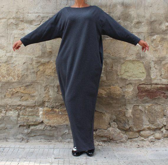 Long Sleeve Gray Maxi Dress, Plus Size Dress, Plus Size Clothing, Long Elegant Dress, Sizes 1X through 4X