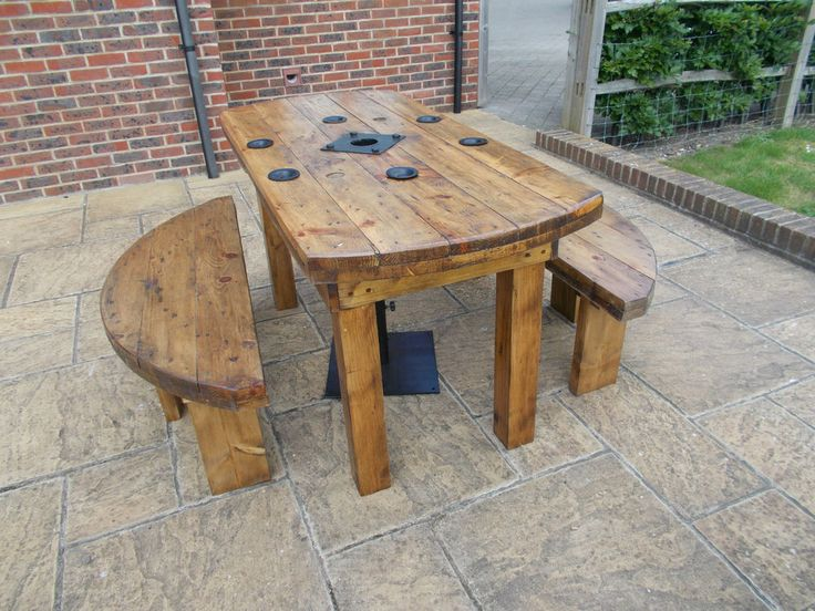 QUIRKY INDUSTRIAL CABLE DRUM RUSTIC TABLE/GARDEN SET.BESPOKE AND MADE TO ORDER | eBay
