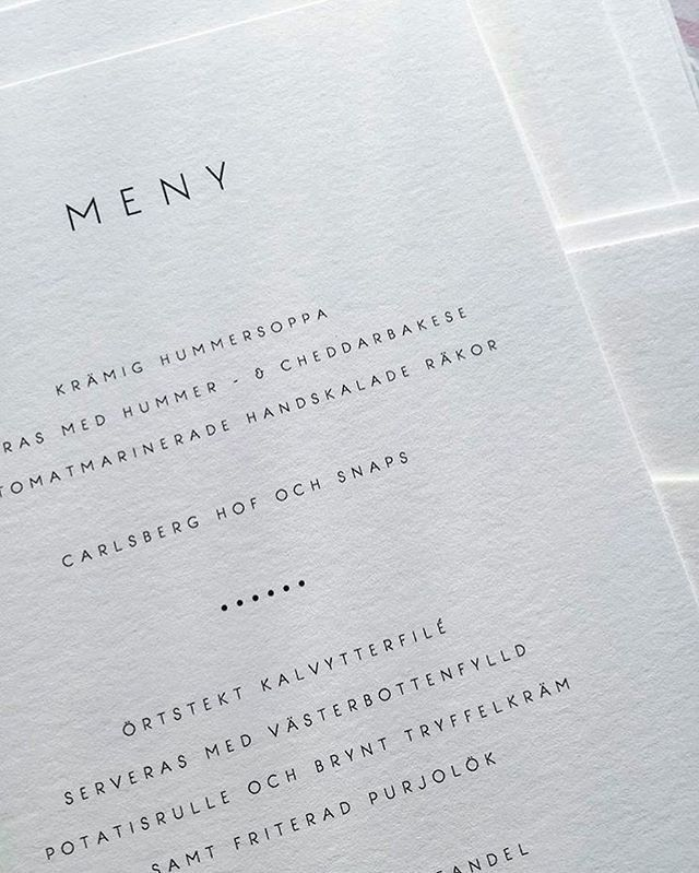 Menu In Swedish Scandinavian Style To Let You Know I Also Offer Bespoke Stationery Go To Blanchepaperie Scandinavian Wedding Scandinavian Style Let It Be