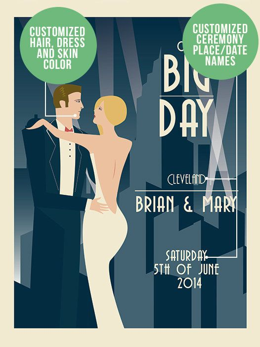 A completely exclusive and fun way to remember your big day! TO CUSTOMIZE YOUR ART DECO WEDDING PRINT. 1. Add this poster to your shopping