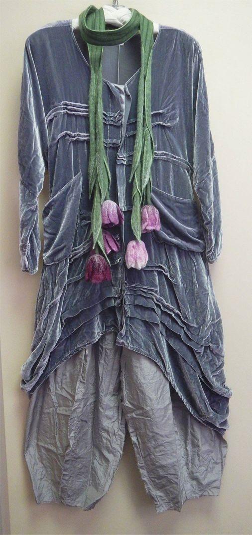 The scrumptious velvet Long Stellah Dress over silk taffeta Origami Pants, by Katie Koos