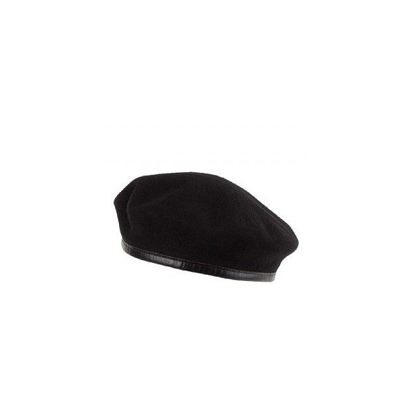 Laulhère Hats Merino Wool French Military Beret Black (€26) ❤ liked on Polyvore featuring accessories, hats, cap hats, beret hat, military style cap, military beret cap and military hats
