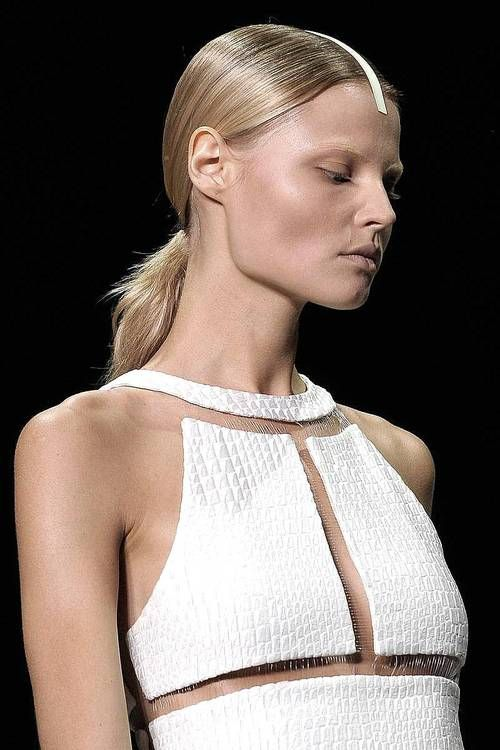 White floating panel dress with fine nylon thread - shape & structure; fashion details // Alexander Wang