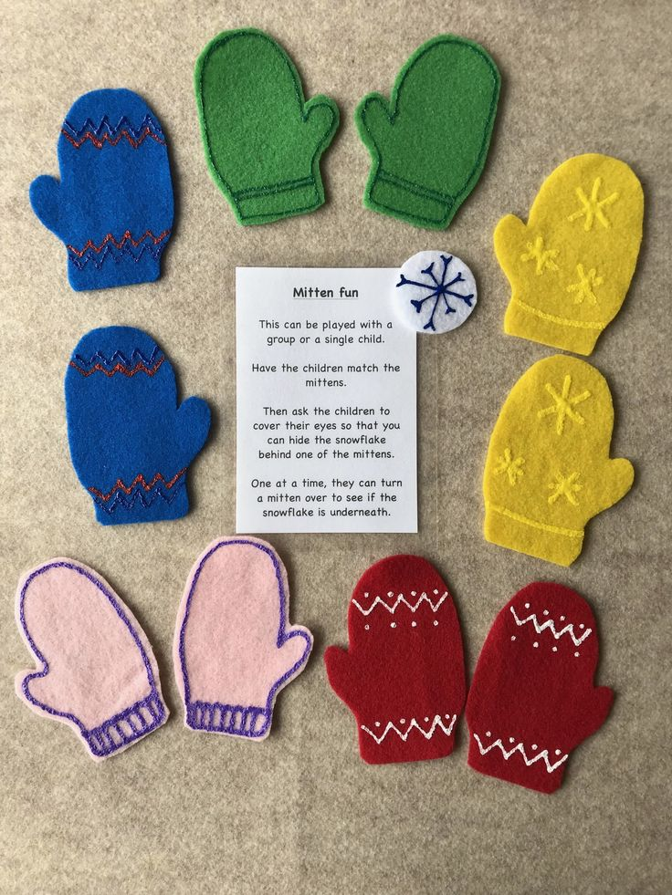 This Match the Mittens Felt Story is a perfect way for children to develop their cognitive skills. After they have matched the mittens it is fun to have them cover their eyes while you hide the snowflake under one of the mittens for them to find.