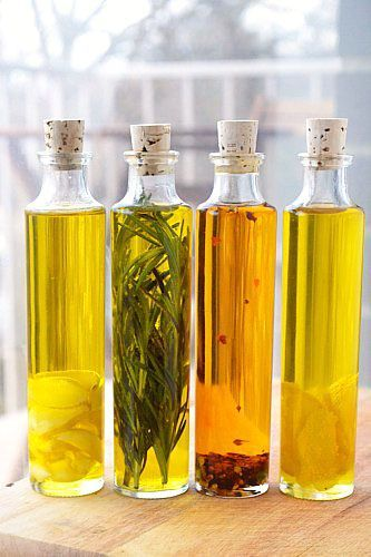 DIY Infused Olive Oils.     Read up on safety first.    Commenter wrote: Please be careful with your oils. Botulism can grow where any water is present. Garlic (more common) lemon peel, and any fresh herbs are at risk. To avoid any chance, refrigerate and use within a week. Other methods are using dried OR preserved herbs/garlic (vinegar or brine) and just adding oil (or heating oil) together.