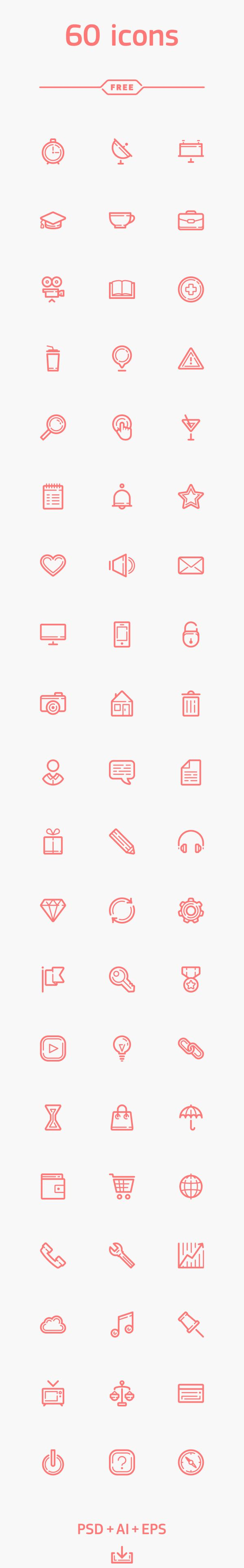 60 free icons on Behance