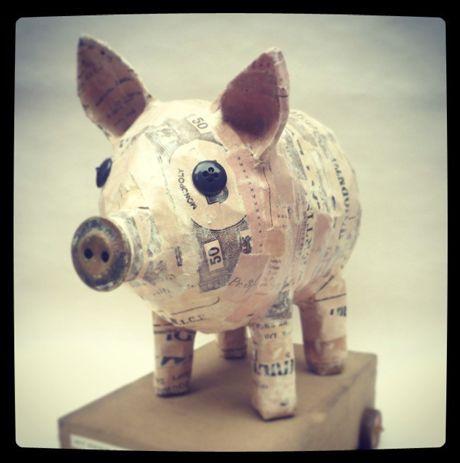Paper artist Anya Keeley - pig