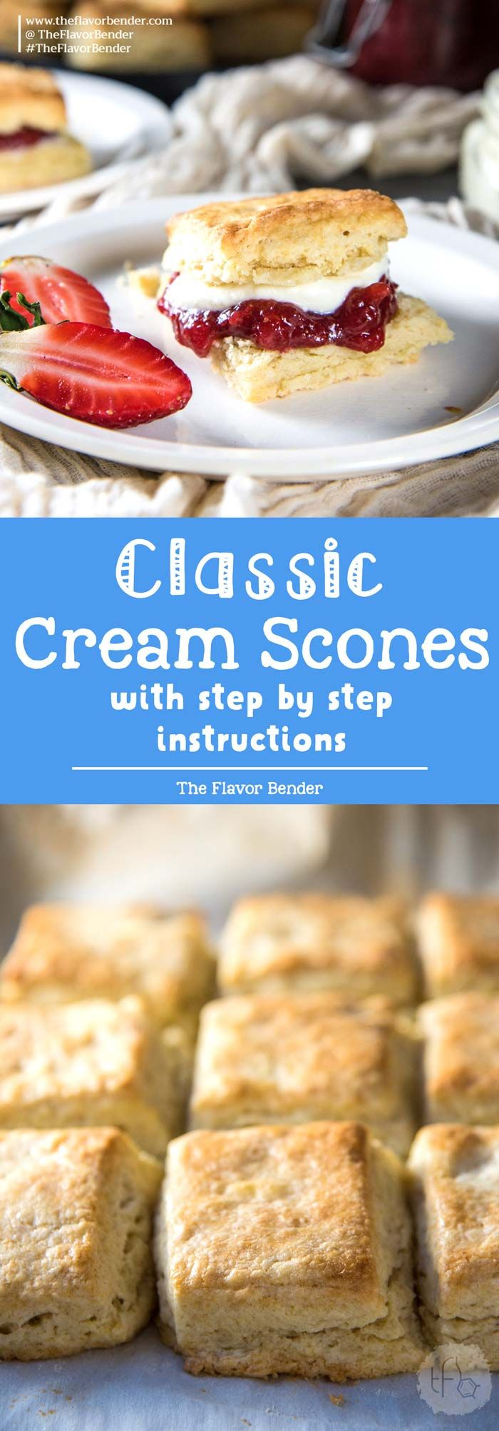 The Best Classic Cream Scones recipe - Step by step recipe with tips on how to make perfect flaky, buttery cream scones, that are so addictive! Easy to make and delicious. via @theflavorbender