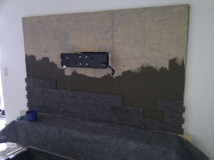 Steinwand Mediawand Eigenbau