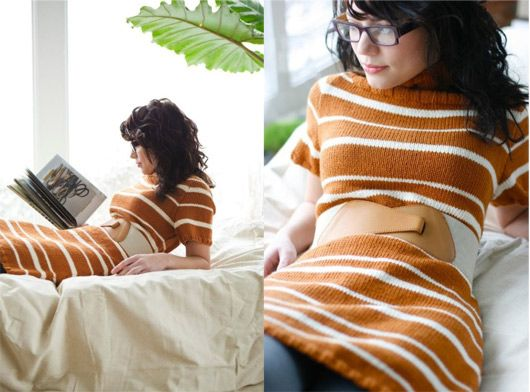 cozy knit dress pattern. amy butler. unique belt