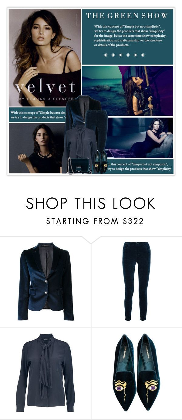 """""""Velvet Pants"""" by marion-fashionista-diva-miller ❤ liked on Polyvore featuring Tagliatore, Roger Dubuis, J Brand, Vanessa Seward, Nicholas Kirkwood, Jimmy Choo, chic, trending, velvet and contestentry"""