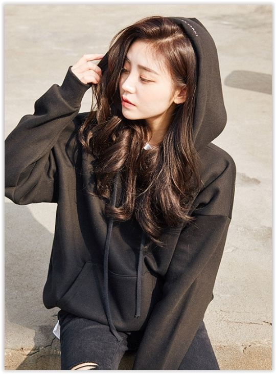 chuu - Hooded Lettering Brushed-Fleece Lined Pullover