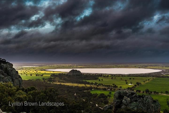 Lynton Brown | Viewed from Mt Arapiles looking north to Mitre Rock and Mitre Lake, VIC  Winter storms across the Wimmera.