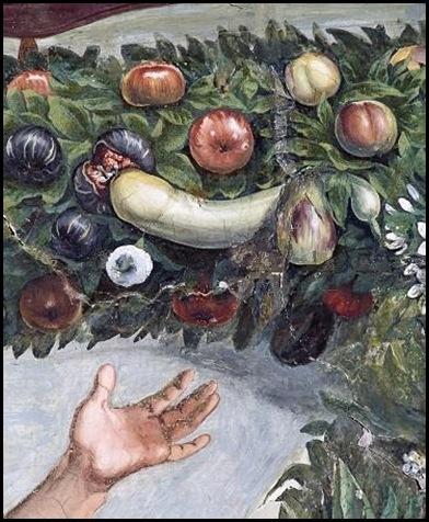 """Giovanni da Udine.      """"…sopra la figura di un Mercurio che vola ha finto per Priapo una zucca attraversata da villucchi, che ha per testicoli due petroncioni, e vicino al fiore di quella ha finto una ciocca di fichi brugiotti grossi, dentro a uno dei quali, aperto e troppo fatto, entra la punta della zucca col fiore, il quale capriccio è espresso con tanta grazia, che più non si piò alcuno immaginare"""".     Vasari, vita di Giovanni da Udine"""