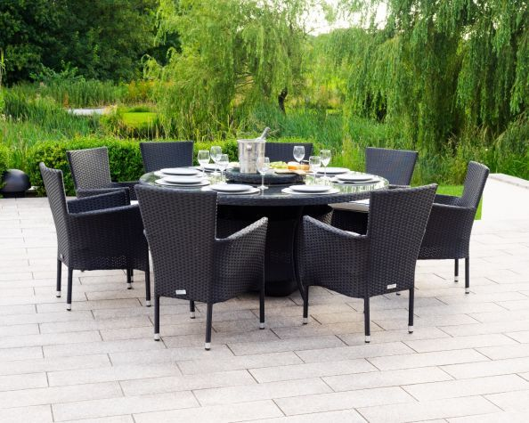 Cambridge 8 Rattan Garden Chairs And Large Round Dining Table Set In Black And Vanilla In 2020 Large Round Dining Table Rattan Garden Chairs Round Dining Table Sets