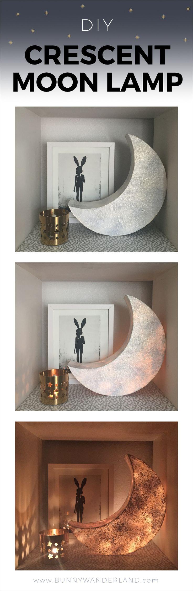 http://bunnywanderland.com   DIY Crescent Moon Lamp