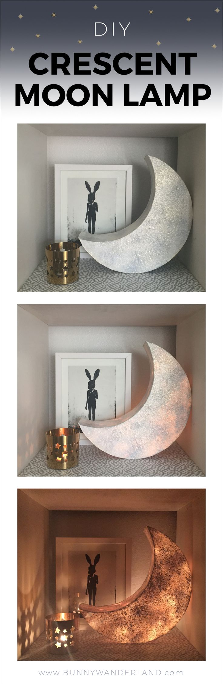 http://bunnywanderland.com | DIY Crescent Moon Lamp