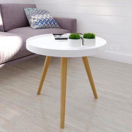 £49 Modern Scandinavian White Retro Home Furniture Range with Solid Oak Legs, Sideboard, Tv Stand, Coffee Tables and Dining Furniture (White Tray Table H45cm): Amazon.co.uk: Kitchen & Home