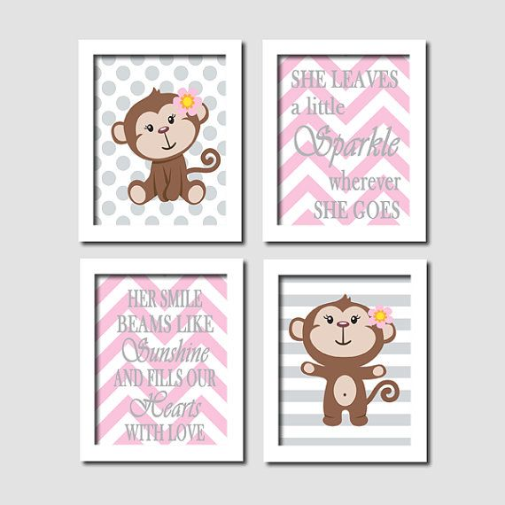 Baby Girl Monkey Grey Gray Polka Dot Stripe Chevron Quote Set of 4 Prints Modern Nursery Wall Art Decor Picture - Choose Your Colors