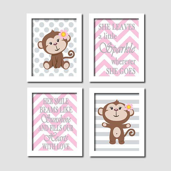 Baby Girl Monkey Grey Gray Polka Dot Stripe Chevron Quote Set of 4 8x10 Prints Modern Nursery Wall Art Decor Picture - Choose Your Colors via Etsy