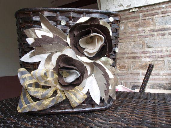 Multi-Functional Basket With Specially Handmade Design / Brown Bambu Basket with handmade felt flowers on Etsy, $40.00