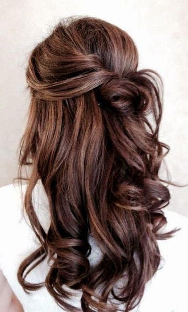 Half Up Half Down Brunette Hairstyle.