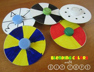 Turn old CDs, bottle caps, and marbles into spinning tops; kids will be amazed as colors blend and patterns change. Science + art + play = FUN!