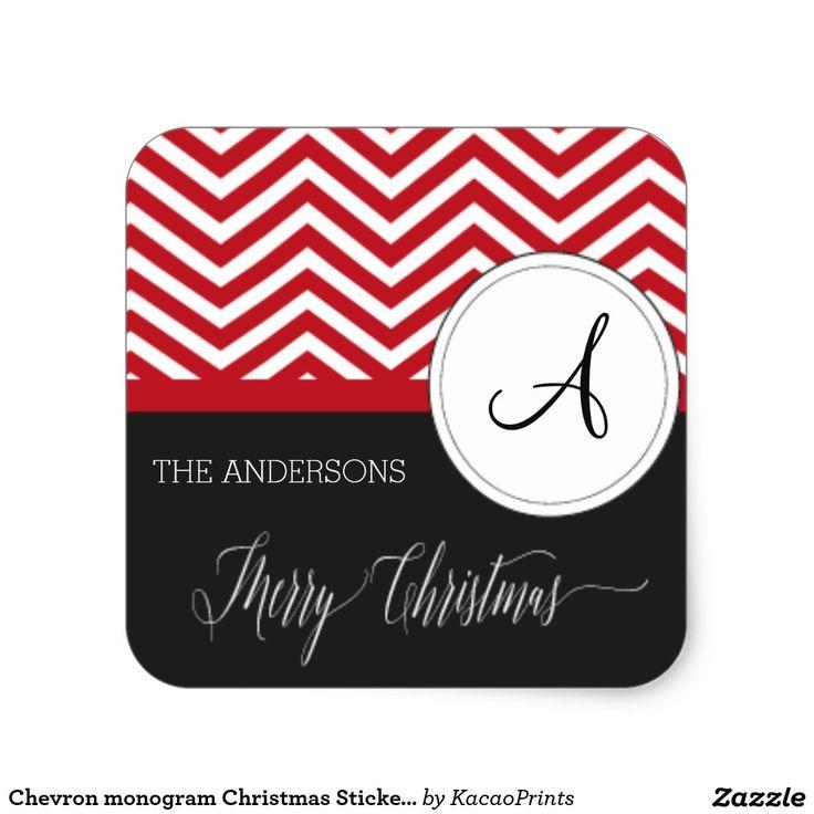 Chevron monogram Christmas Stickers