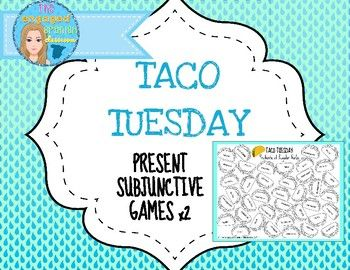 Spanish present subjunctive tense, el presente del subjuntivo, regular verbs, irregular verbs, subjunctive verbs, Spanish game, Spanish class games, Spanish conjugation game, Spanish word race, Taco Tuesday, conjugation practiceSpanish Present Subjunctive TACO TUESDAY Conjugation Games, Set of 2Game #1 *Regular verbs only*Game #2 *Regular and Irregular imperfect present subjunctive tense verbs*This is a quick and simple game that gets students competing to identify vocabulary words or verb…