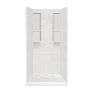 """Transolid Alcove 10 Peice Shower Wall Kit with Shower Base Size: 83"""" H x 36"""" W x 36"""" D, Finish: Almond Sky"""