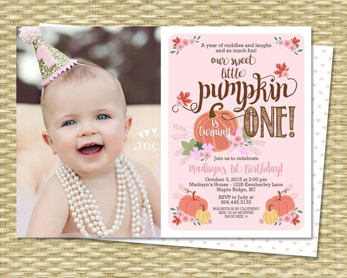 Our Little Pumpkin Birthday Invitation First Birthday Invitation Pumpkin Girl Birthday Invite 1st Birthday Invitations Fall with Photo by SunshinePrintables on Etsy https://www.etsy.com/listing/245997917/our-little-pumpkin-birthday-invitation
