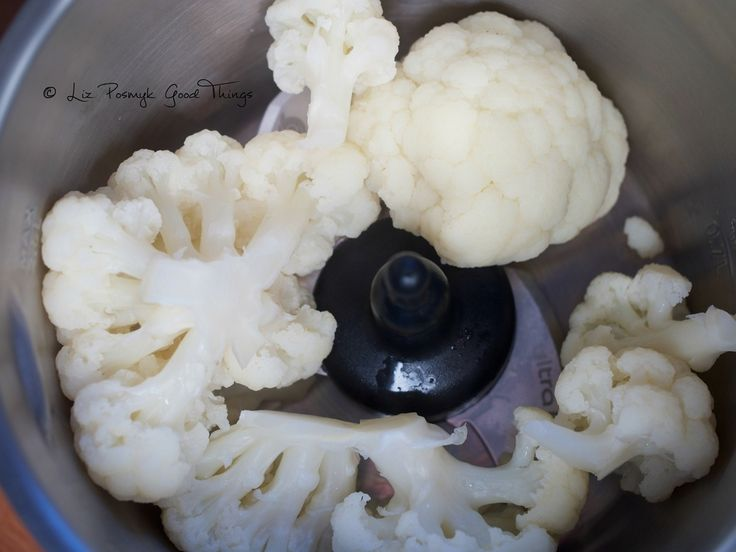 The steamed cauliflower is then mashed with the ultrablade - Liz Posmyk Good Things #CuisineCompanion