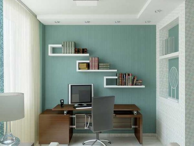 Home Office Small Space Office Design For Home Office Ideas In Small Spaces  Blue Wall Home