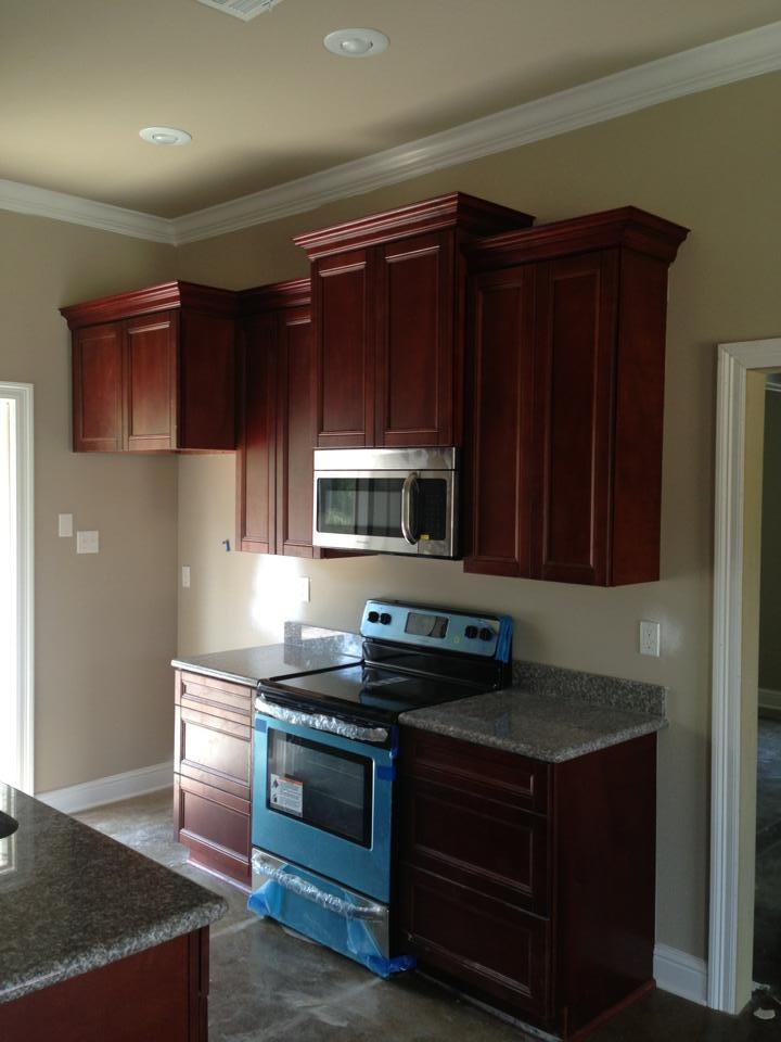 Kitchen walls warm tan grey will lighten the room but for Cherry kitchen cabinets wall color