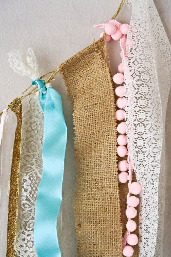 Monogram Glitter Lace and Burlap // Baby Girl Shower, Photo Prop and Nursery Garland- Pink, Turquoise, Gold and Ivory
