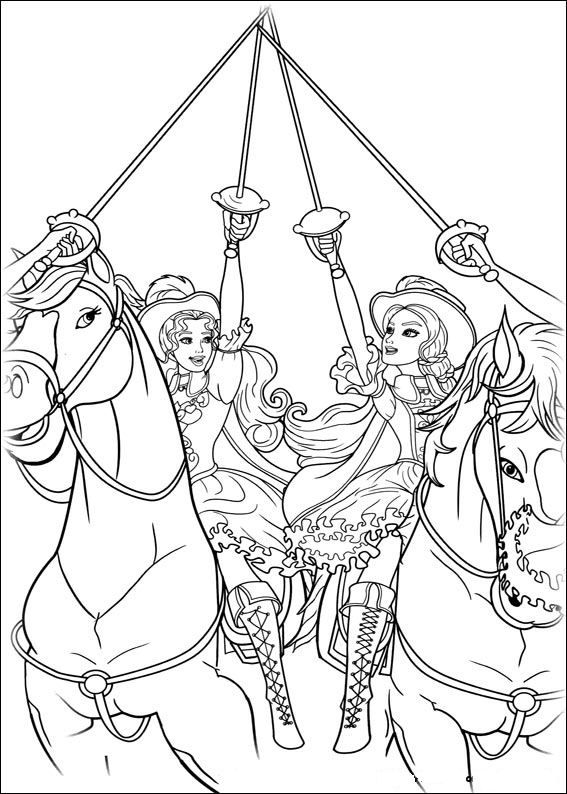 coloring page Barbie and the Three Musketeers Kids-n-Fun