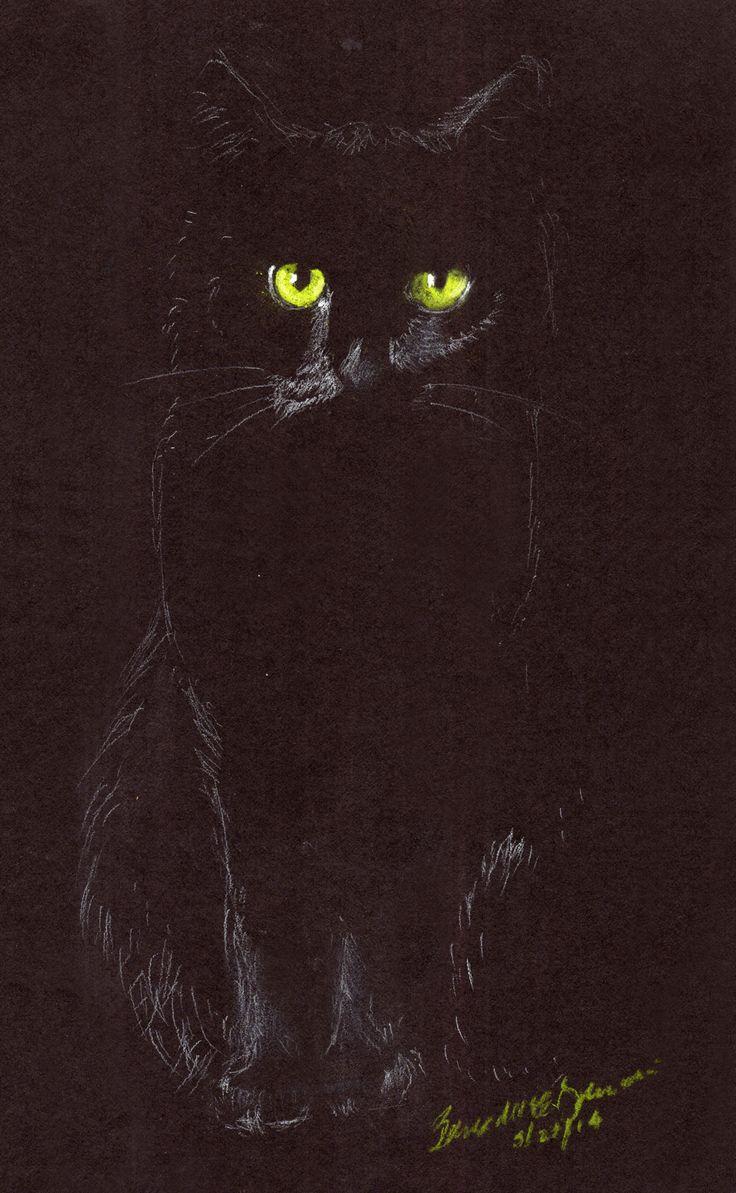 """Sitting in the Dark"", white charcoal and pastel pencils on black paper, 6″ x 10″ © Bernadette E. Kazmarski"