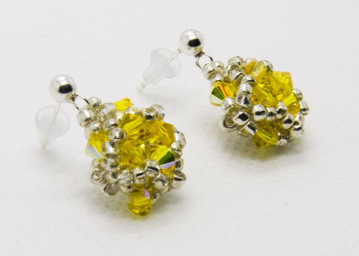 Yellow Swarovski crystal stud earrings, by TiffyDesigns. http://www.tiffydesigns.com #stud earrings #crystal studs #yellow studs #crystal earrings #jewlery