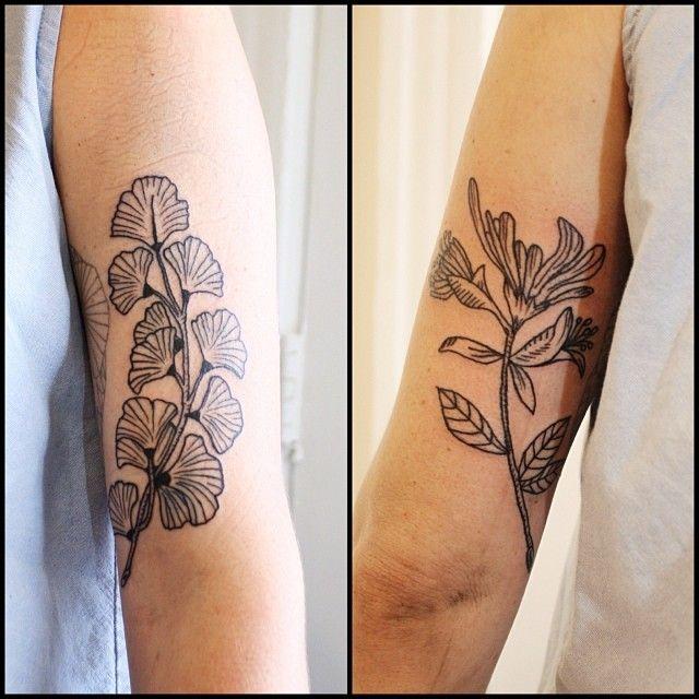 jrflemingtattoo: Ginkgo and Honeysuckle framed around a tattoo by Matt Brotka. Thanks! #tattoo #tattoos #blacktattoos #linework
