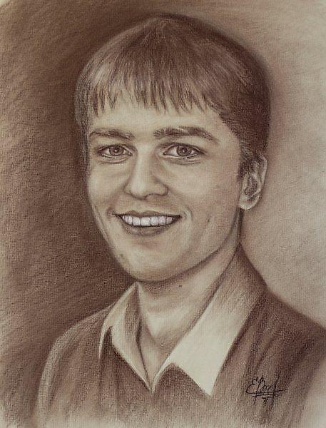 Портрет молодого человека - Изобразительное искусство - Сангина