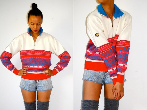 Vtg Neon Colorful Printed JAPAN Zip Up Turtleneck by LuluTresors, $29.99