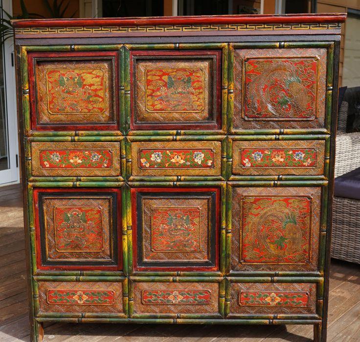 Stunning Antique Tibetan Cabinet