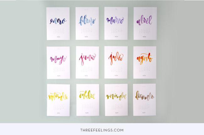 DESCARGABLE GRATUITO: Crea el calendario más bonito para un 2016 único - Three Feelings