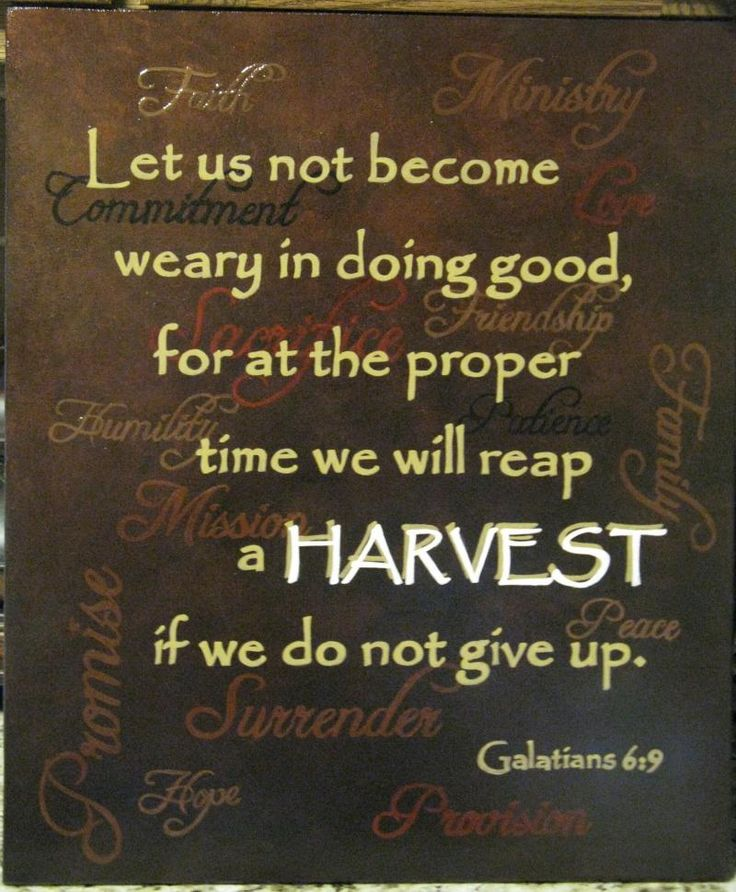 """Let us not become weary in doing good, for the proper time we will reap a HARVEST if we do not give up."" - Galatians 6:9"
