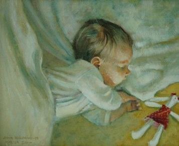 """""""NUKKUVA LAPSI"""" (baby Alisa 8 weeks old) oil on canvas, 1999"""