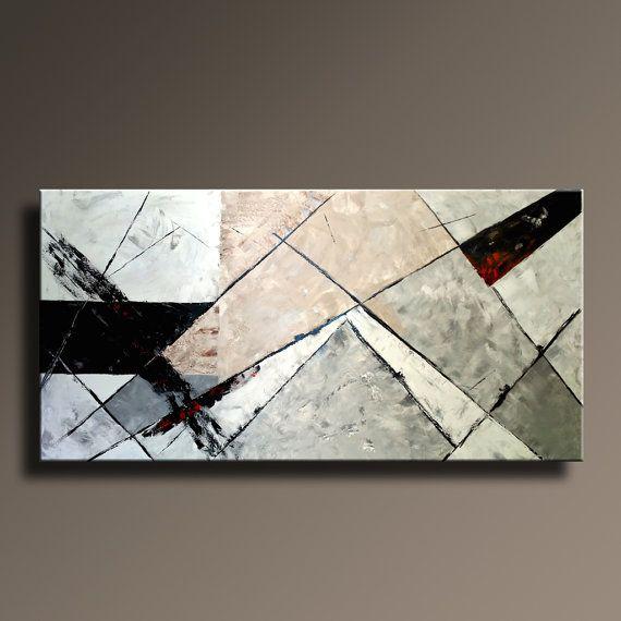72 rojo de Mocca blanco gris negro Original abstracto